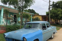 Old blue car in Viñales
