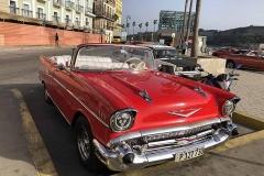 Red Chevrolet on Havana malecón
