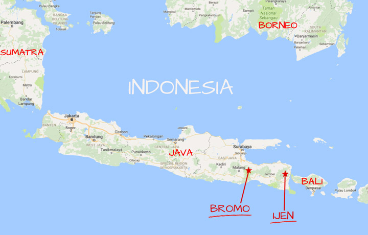 Map Bromo and Ijen